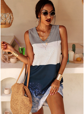 PolkaDot Striped Shift Sleeveless Midi Casual Vacation Tank Dresses