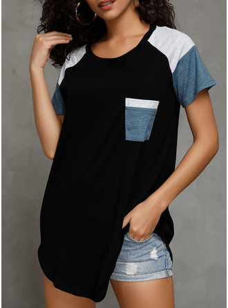 Color Block Round Neck Short Sleeves Casual