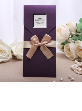 Personalized Vintage Style Wrap & Pocket Invitation Cards With Ribbons (Set of 50)