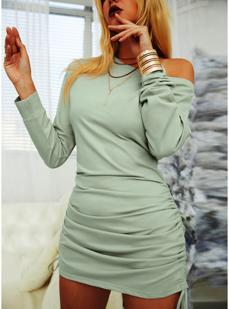 Solid Bodycon Long Sleeves Mini Little Black Casual Sweatshirt Dresses