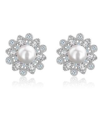 Damen Klassische Art 925 Sterlingsilber mit kubisch Perle/Zirkonia Ohrringe Braut/Brautjungfern