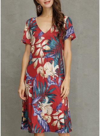 Floral Print Sheath Short Sleeves Midi Casual Vacation Dresses