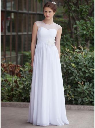 Corte A/Princesa Escote redondo Hasta el suelo Chifón Tul Vestido de novia con Volantes Flores