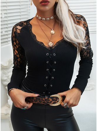 Lace Solid V-Neck Long Sleeves Elegant Blouses
