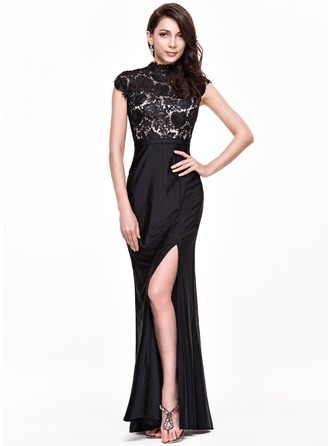 Trumpet/Mermaid High Neck Floor-Length Jersey Prom Dress With Split Front
