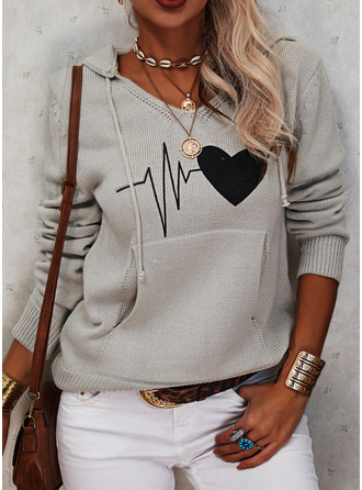 Hooded Casual Print Pocket Heart Sweaters