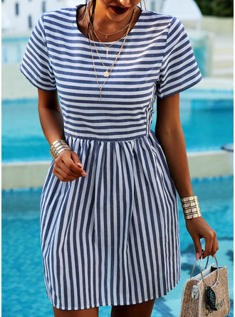 Çizgili Shift Elbiseleri Mâneci Scurte Mini gündelik Tişört Moda Elbiseler