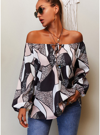 Leopard Print Round Neck Long Sleeves Casual Blouses