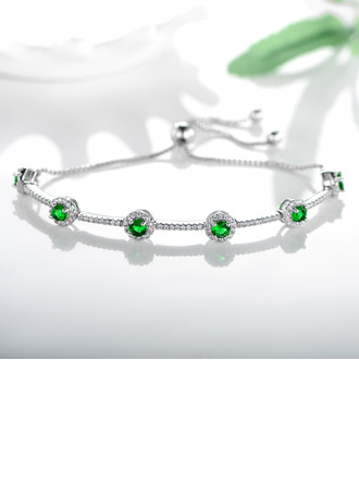 Anti-oxidation Delicate Chain Bridesmaid Bracelets Bolo Bracelets With Cubic Zirconia -