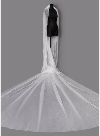 Uma camada Corte da borda Véus de noivas capela