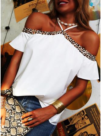 Leopard Cold Shoulder Short Sleeves Casual