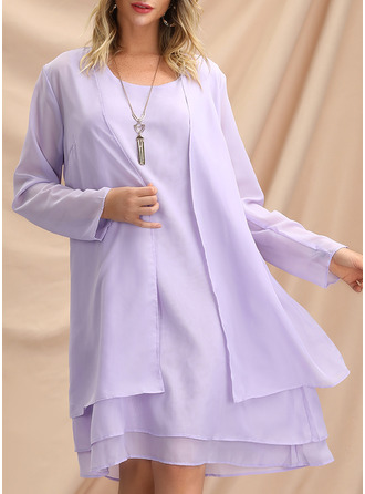 Solid Shift Long Sleeves Midi Elegant Dresses