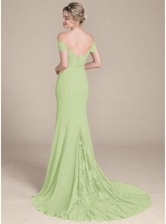 Trumpet/Mermaid Off-the-Shoulder Court Train Chiffon Lace Bridesmaid Dress