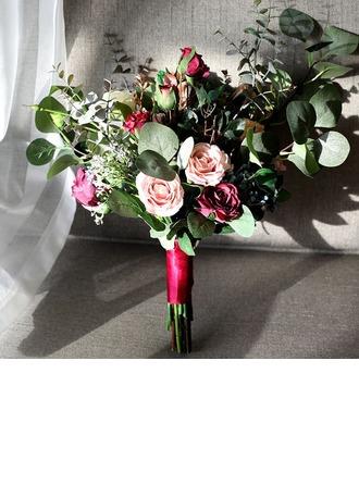 Floreciente Forma libre Seda/Tela Ramos de novia -