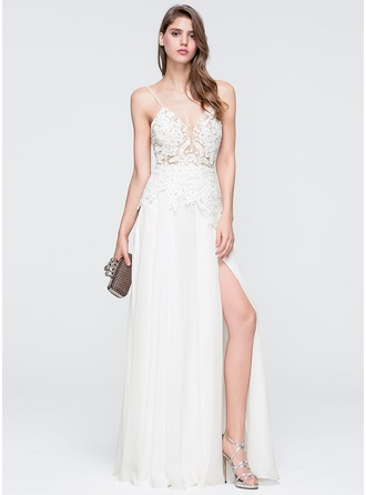 A-Line/Princess V-neck Floor-Length Chiffon Wedding Dress With Beading Sequins Split Front