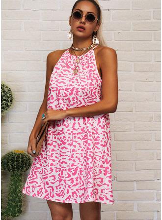 Распечатать Прямые платья безрукавный Мини Повседневная Модные платья