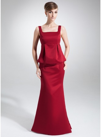 Empire Square Neckline Floor-Length Satin Satin Maternity Bridesmaid Dress With Cascading Ruffles