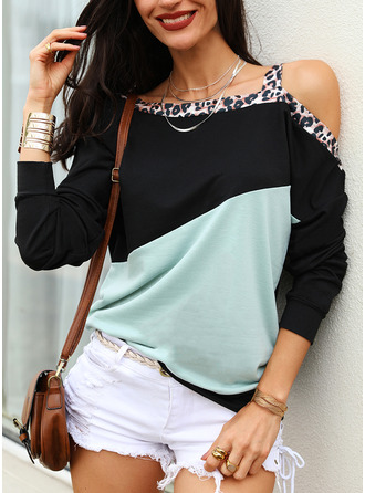Leopard Color Block One Shoulder Long Sleeves Casual Blouses
