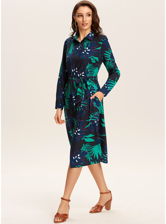 Floral Print A-line Long Sleeves Midi Casual Vacation Shirt Skater Dresses