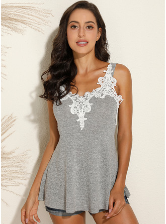 Lace Solid Strap Sleeveless Casual Tank Tops