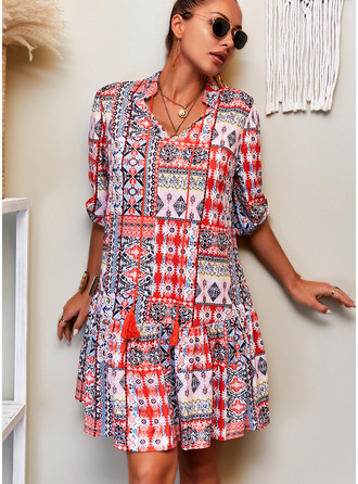 Patchwork Print Shift 3/4 Sleeves Midi Boho Casual Vacation Tunic Dresses