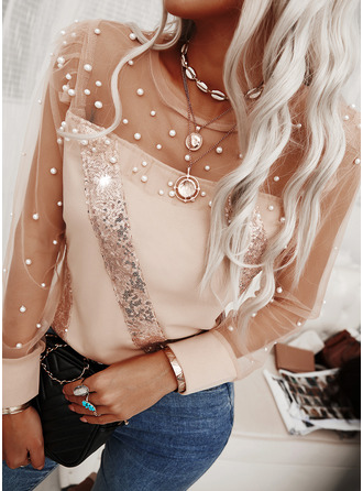 Beaded Sequins Round Neck Long Sleeves Elegant Blouses