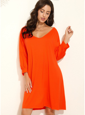 Solid Shift Lantern Sleeve 3/4 Sleeves Midi Casual Tunic Dresses