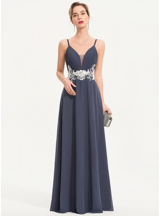 A-Line Sweetheart Floor-Length Chiffon Prom Dresses With Lace Beading Sequins