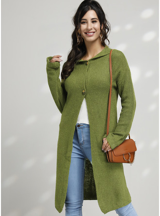 Solid Polyester Hooded Cardigans Sweaters