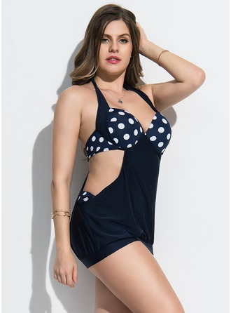 Sexy Dot Chinlon Spandex One-piece Swimsuit