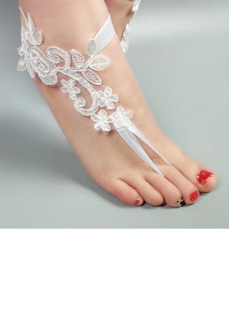 Женщины Кружева Открытый мыс Сандалии Beach Wedding Shoes с Вышитые кружева Цветок Аппликация