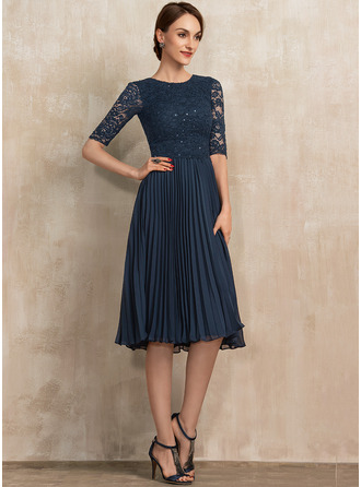A-Line Scoop Neck Knee-Length Chiffon Lace Mother of the Bride Dress With Sequins Pleated