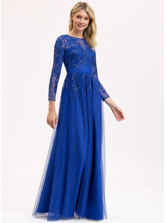 A-Line Scoop Neck Floor-Length Tulle Lace Bridesmaid Dress With Sequins
