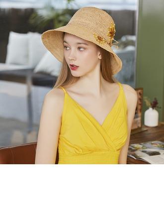 Bayanlar Hottest/Romantik Rafya Straw/Faux Pearl Ile İpek Çiçek Plaj / Güneş Şapkaları/Çay Partisi Şapkaları