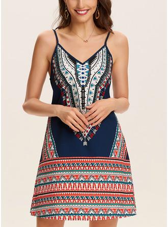 Print Shift Sleeveless Mini Boho Casual Vacation Type Dresses