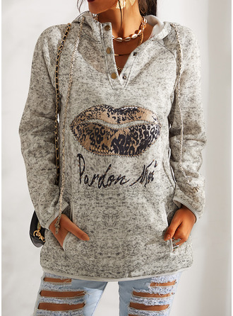 Print Leopard Figure Beaded Long Sleeves Hoodie