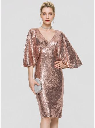 Sheath/Column V-neck Knee-Length Sequined Homecoming Dress