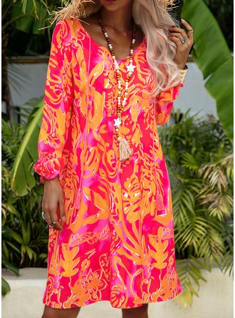Print Shift Long Sleeves Midi Casual Vacation Tunic Dresses