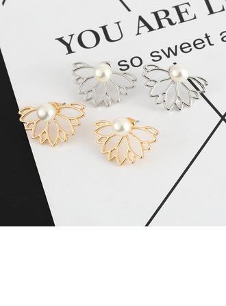 En forma de flor Aleación La perla de faux con Rhinestone De mujer Pendientes de la manera (Sold in a single piece)