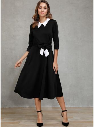 Solid A-line 1/2 Sleeves Midi Elegant Skater Dresses