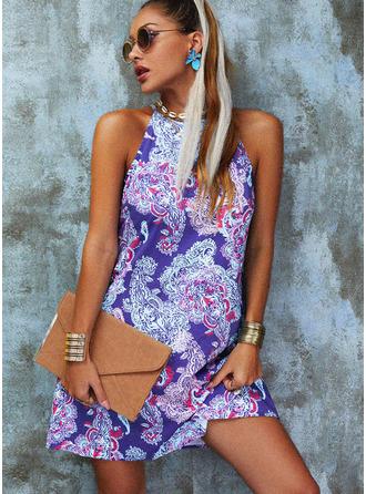 Print Shift Sleeveless Mini Boho Casual Dresses