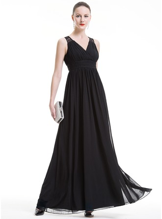 Empire V-neck Floor-Length Jersey Holiday Dress With Ruffle Lace