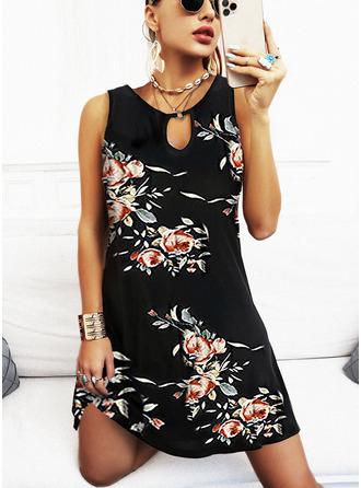 Floral Estampado Bainha Sem mangas Mini Casual férias Vestidos na Moda