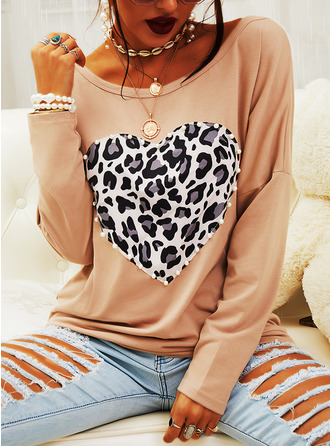 Beaded Leopard Round Neck Long Sleeves Casual T-shirt