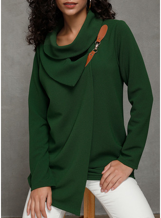 Solid Stand collar Long Sleeves Casual