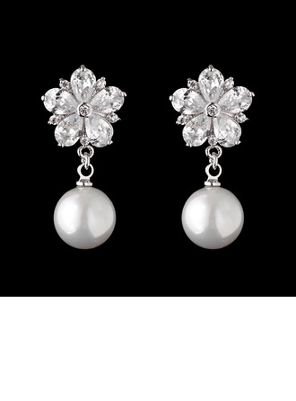 Maravilloso Perla/Circón Señoras' Pendientes