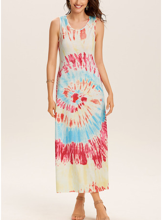 Tie Dye Shift Sleeveless Maxi Casual Tank Dresses