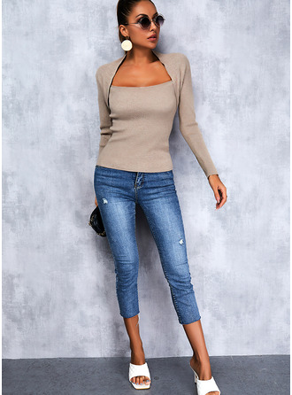 Square Collar Casual Solid Sweaters