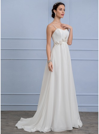 A-Line/Princess Sweep Train Chiffon Wedding Dress With Lace Beading
