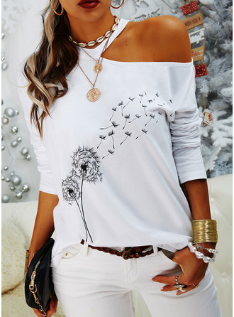 Dandelion Print One Shoulder Long Sleeves Casual Blouses